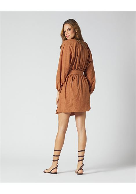 Short dress with cross and puff sleeves MANILA GRACE |  | A172CRMA045