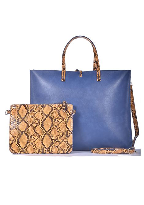 Felicia big shopping bag in ecopelle avio con inserti pitonati MANILA GRACE | Borse | B011EUMA011