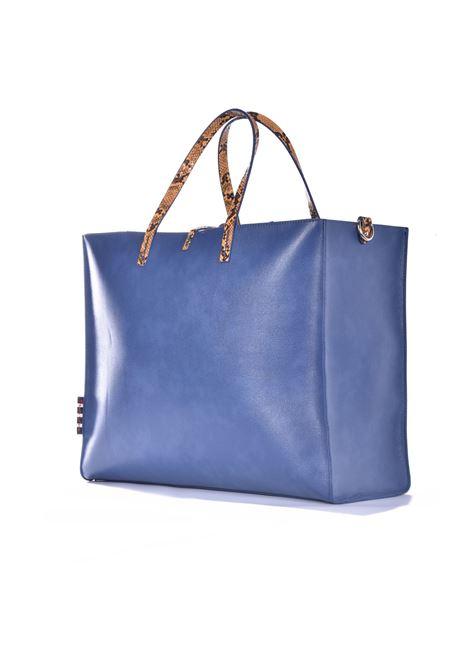 Felicia big shopping bag in avio eco-leather with python inserts MANILA GRACE | Bags | B011EUMA011