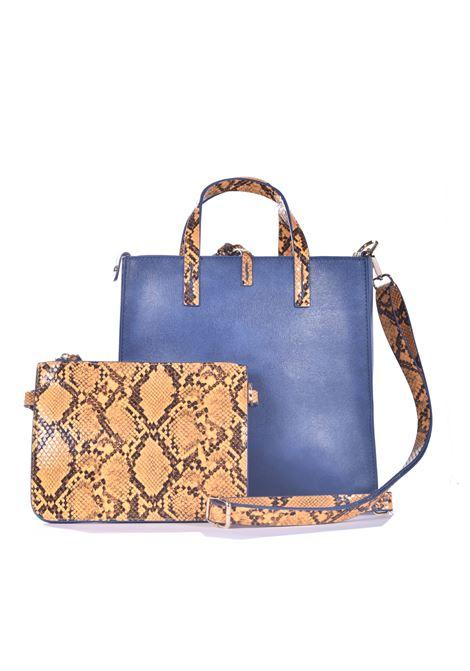 Felicia medium shopping bag in ecopelle avio con inserti pitonati MANILA GRACE | Borse | B013EUMA011
