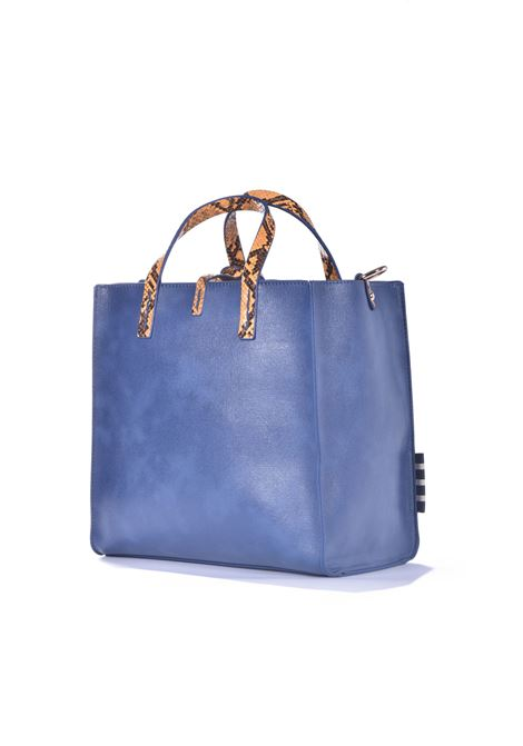 Felicia medium shopping bag in avio eco-leather with python inserts MANILA GRACE | Bags | B013EUMA011