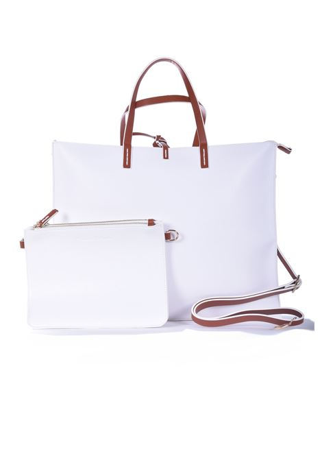 Felicia big shopping bag in ecopelle bianca MANILA GRACE | Borse | B016EUMA029