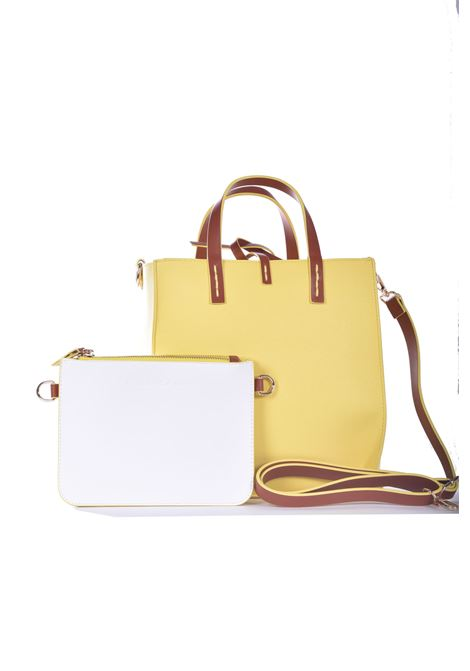 Felicia medium shopping bag in white eco-leather with leather inserts MANILA GRACE | Bags | B018EUMA012