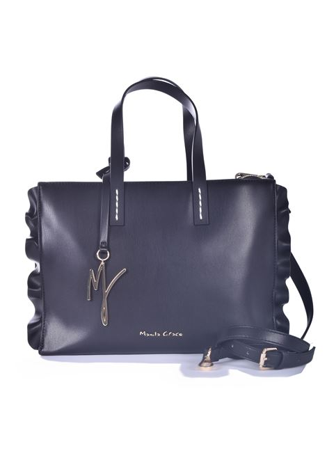 Daisy medium shopping bag with rouches in black eco-leather MANILA GRACE | Bags | B202EUMA001