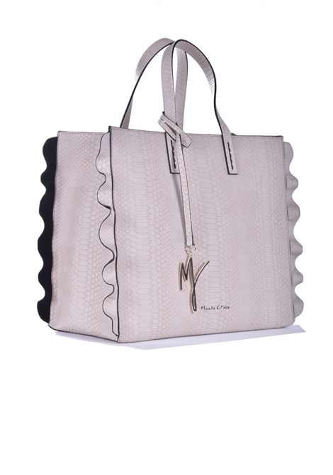 Daisy shopping bag in dove gray faux leather with python processing MANILA GRACE | Bags | B207EUMA042