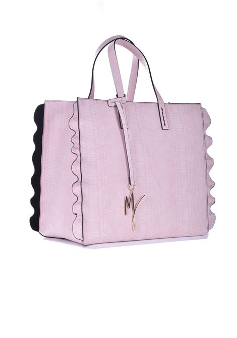 Daisy shopping bag in powder pink eco-leather with python processing MANILA GRACE | Bags | B207EUMA058