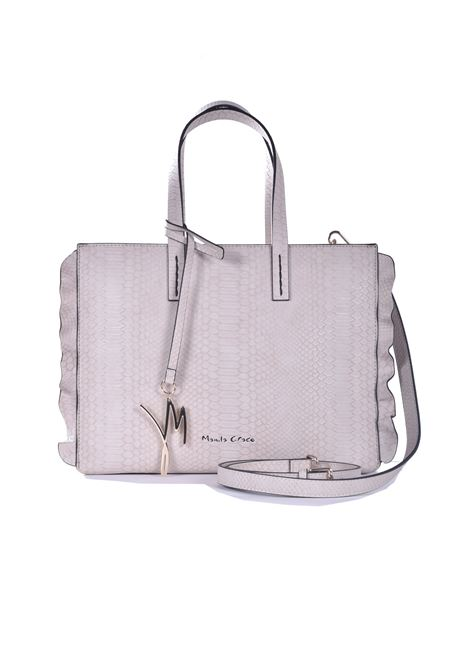 Daisy medium shopping bag in dove gray faux leather with python processing MANILA GRACE | Bags | B209EUMA042