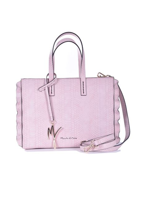 Daisy medium shopping bag in powder pink eco-leather with python processing MANILA GRACE | Bags | B209EUMA058