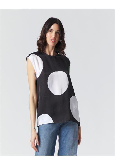 Blusa giromaniche in satin a macro pois MANILA GRACE | Bluse | C053VPMA001