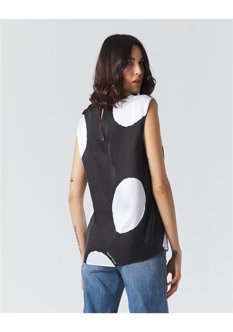 Macro polka dot satin armhole blouse MANILA GRACE | Blouses | C053VPMA001