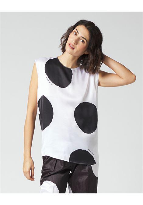 Macro polka dot satin armhole blouse MANILA GRACE | Blouses | C053VPMA009