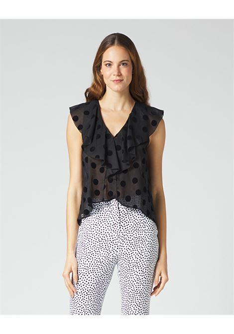 Armhole blouse with velvet polka dot rouches MANILA GRACE | Blouses | C088CPMA001