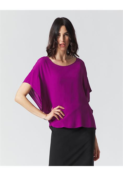 Oversized blouse with round neckline in grape-colored crepe MANILA GRACE | Blouses | C111VUMA004