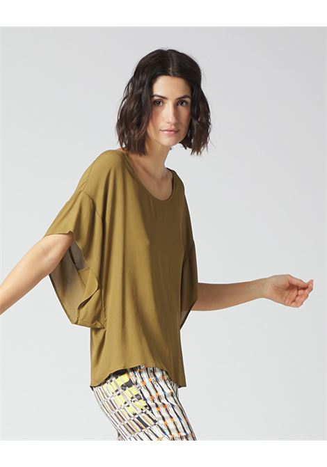 Oversized blouse with round neckline in military green crepe MANILA GRACE | Blouses | C111VUMA014