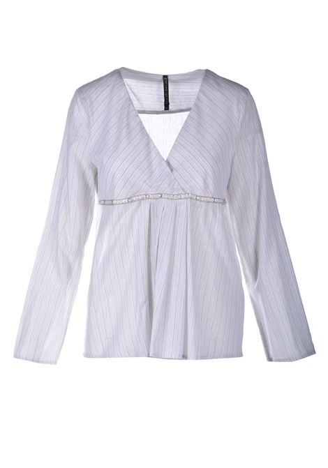 Blusa a righe lurex con scollo incrociato MANILA GRACE | Bluse | C184CIMA003