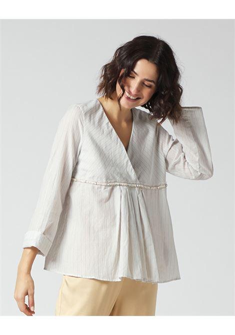 Blusa a righe lurex con scollo incrociato MANILA GRACE | Bluse | C184CIMA003
