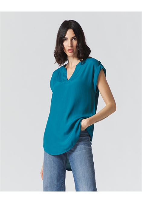 Sleeveless blouse in Avio color crepe de Chine MANILA GRACE | Blouses | C193VCMA011