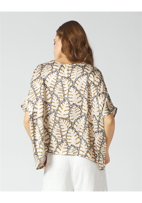Oversized box blouse in printed silk MANILA GRACE | Blouses | C247SSMA014