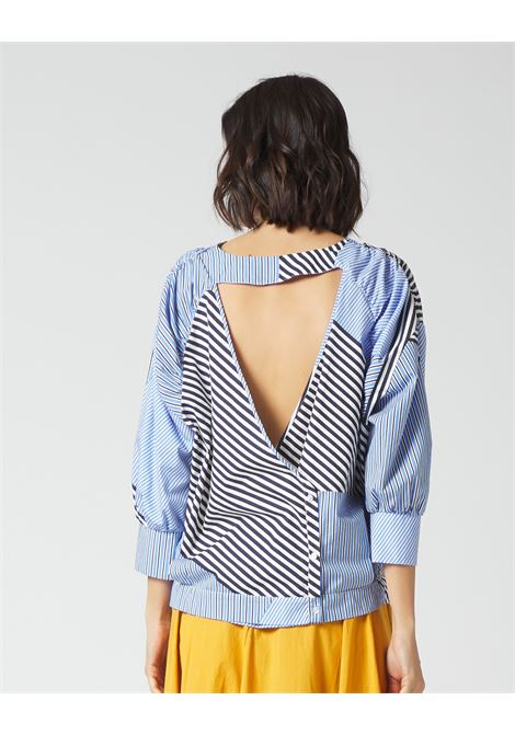 Cut-out blouse with pinstripes and neckline MANILA GRACE | Blouses | C314CIMA003