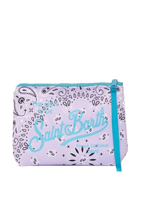 Clutch bag in lilac bandana print scuba fabric MC2 SAINT BARTH | Accessories | ALINEBNDR24