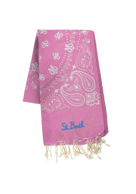 Beach towel in pink bandana pattern jacquard MC2 SAINT BARTH | Beach Towel | FOUTAS J NBAND21