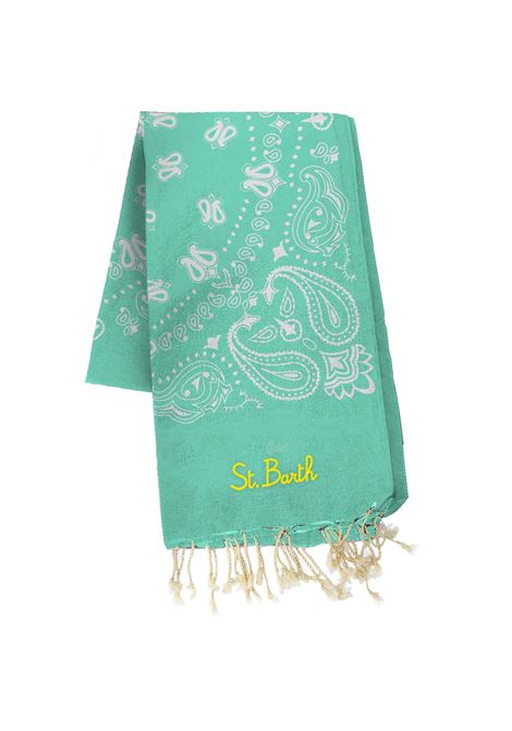 Beach towel in aqua green bandana jacquard pattern MC2 SAINT BARTH | Beach Towel | FOUTAS J NBAND56