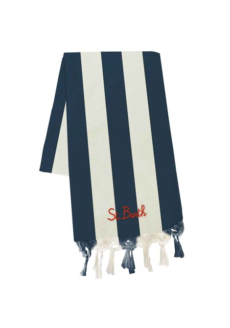 Beach towel in ultralight cotton with vertical stripes MC2 SAINT BARTH | Beach Towel | FOUTAS LIGHT NVBGL06