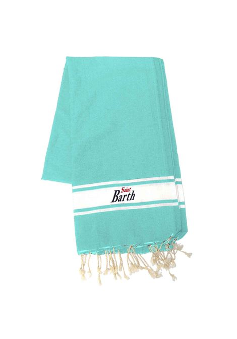 Cotton beach towel with aqua green fringes MC2 SAINT BARTH | Beach Towel | FOUTAS56