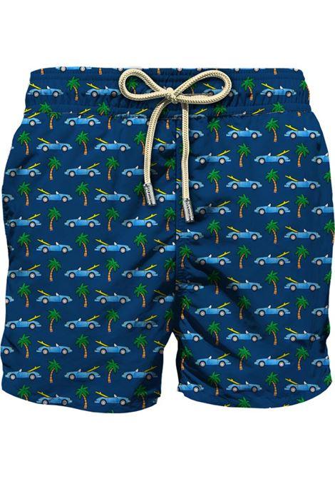 Swimsuit in ultra-light fabric with micro car and palm pattern MC2 SAINT BARTH | Beachwear | LIGHTING MICROVNSC61