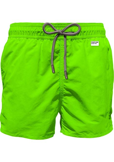 PANTONE® special edition neon green light fabric swim shorts MC2 SAINT BARTH | Beachwear | LIGHTING PANTONE75