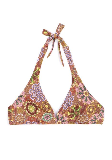 Top Beachwear a triangolo in stampa marrone e rosa MOMONI | Costumi | MOBE0056243