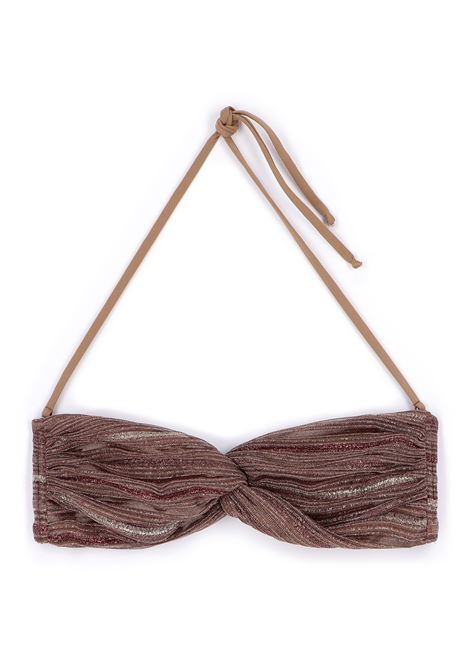Bandeau costume in bronze multi-line lurex MOMONI | Beachwear | MOBE0120271