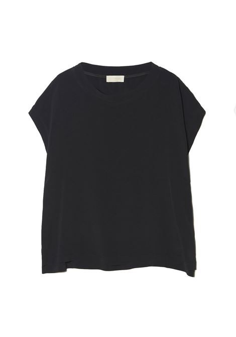 Black habutai silk blouse MOMONI | Blouses | MOBL0050990