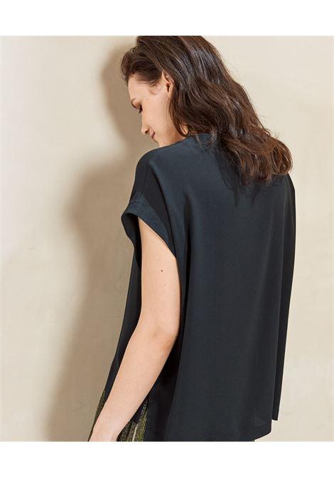 Blusa in seta habutai nero MOMONI | Bluse | MOBL0050990
