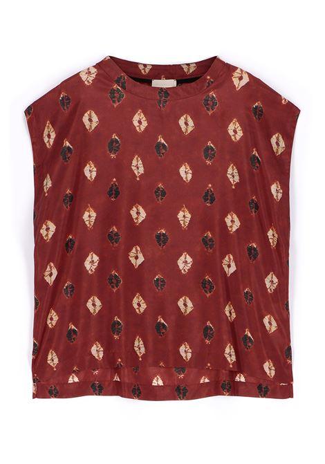 Habutay silk blouse with burgundy print MOMONI | Blouse | MOBL0054026