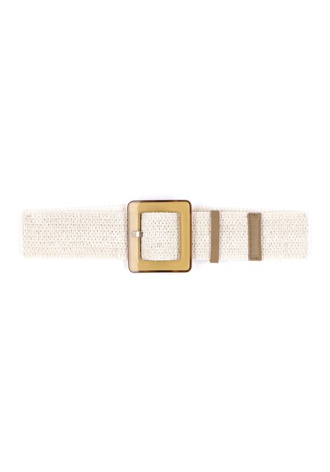 Belt with cream-colored raffia effect elastic MOMONI | Belts | MOBT0030040
