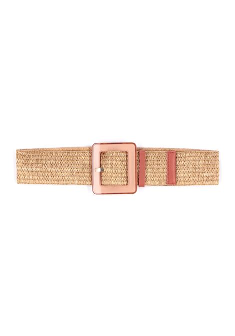 Elastic belt with rope-colored raffia effect MOMONI | Belts | MOBT0030160