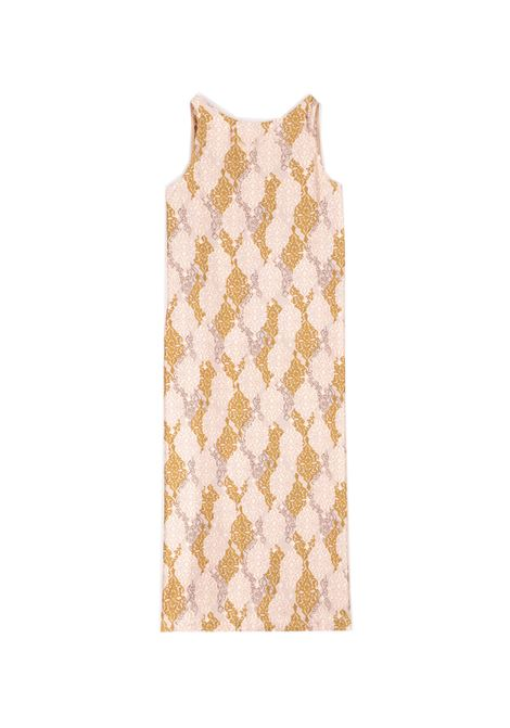 Silk twill dress in powder and goose beak print MOMONI |  | MODR0034126