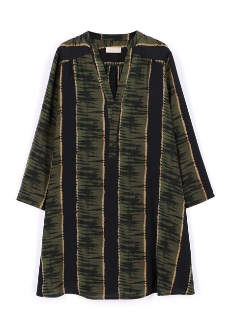 Crepe de chine dress with black and green print MOMONI |  | MODR0059007