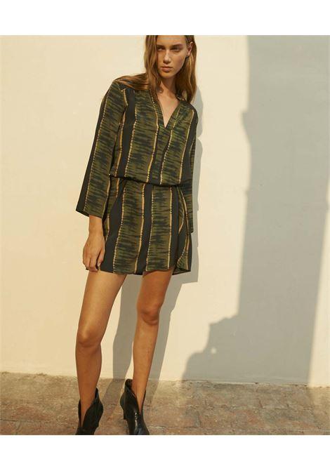 Vestito in crepe de chine con stampa nera e verde MOMONI | Vestiti | MODR0059007