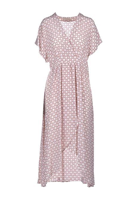 Crepe de chine dress with cream and tobacco floral print MOMONI |  | MODR0071055