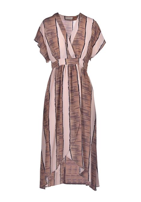 Crepe de chine dress with dark beige print MOMONI |  | MODR0071599