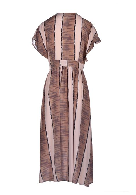 Crepe de chine dress with dark beige print MOMONI |  | MODR0071599