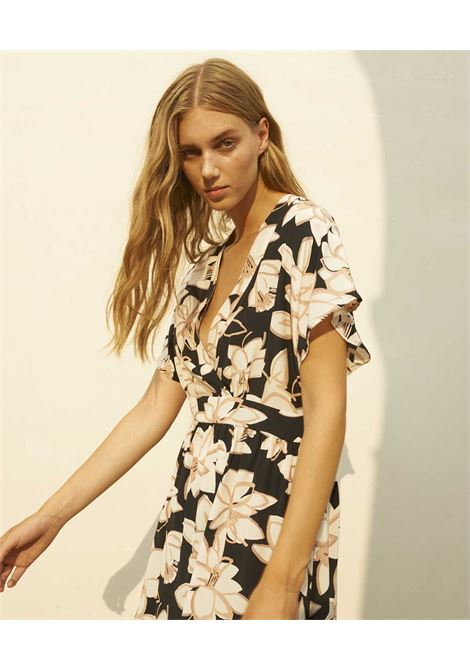 Vestito in crepe de chine con stampa floreale nera e rosa MOMONI | Vestiti | MODR0079041