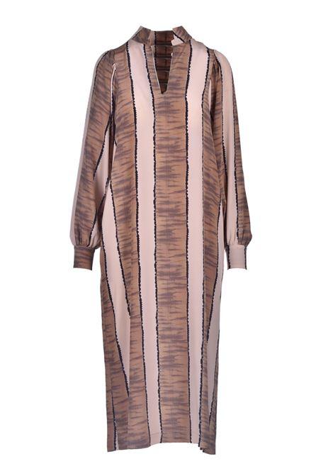 Oversized crepe de chine dress with dark beige print MOMONI |  | MODR0091599