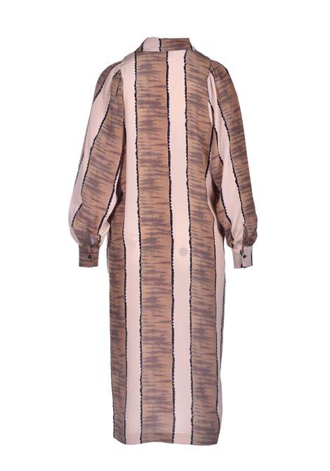 Vestito oversize in crepe de chine con stampa beige scuro MOMONI | Vestiti | MODR0091599
