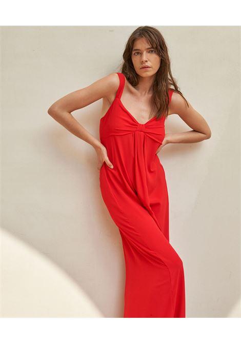 Abito lungo in tessuto misto seta color rosso MOMONI | Vestiti | MODR0130350