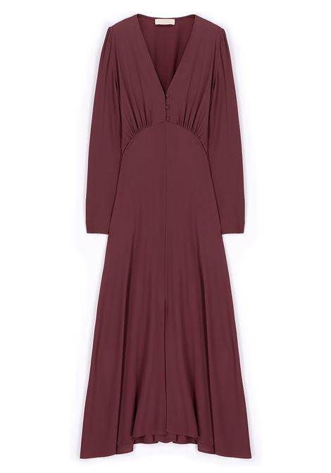 Dress in plum silk blend fabric MOMONI |  | MODR014/20460