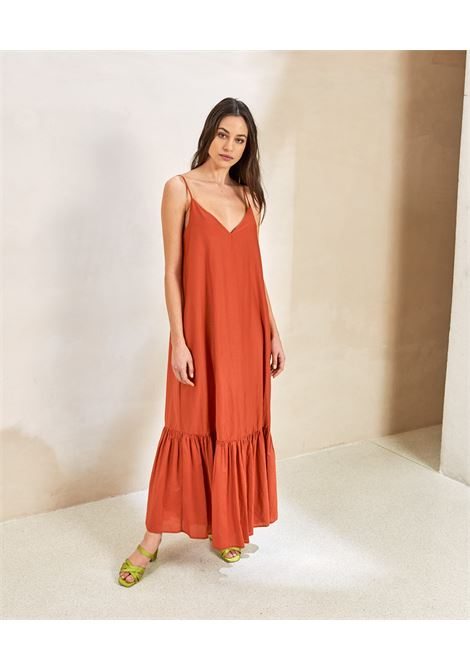 Dress with straps in cotton and silk blend MOMONI |  | MODR0160351