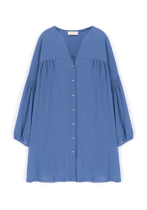 Oversize shirt in light blue seersucker voile MOMONI |  | MODR0180834